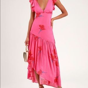 a Waterfall Hot Pink Floral Print Ruffled Maxi